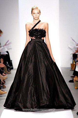 Черное пышное вечернее платье от Dennis Basso