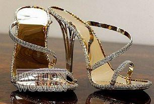 босоножки из золота с бриллиантами