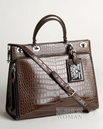 Деловая классическая сумка из кожи крокодила