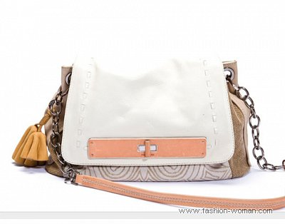 Модная сумка из комбинированной кожи