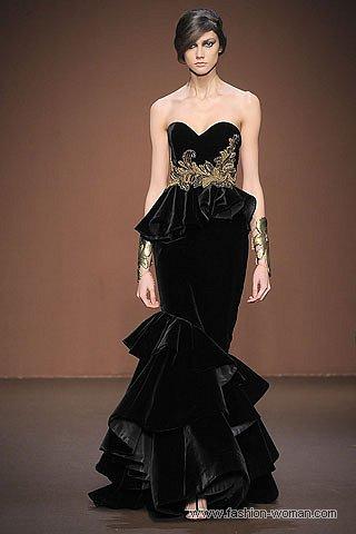 Бархатное вечернее платье осень-зима 2010-2011
