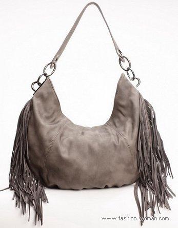 модная сумка-хобо с бахромой