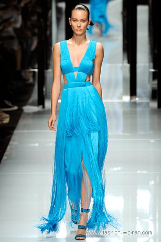 Вечернее платье с бахромой от Versace весна-лето 2011
