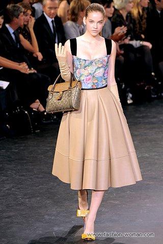кожаная бежевая юбка от Louis Vuitton