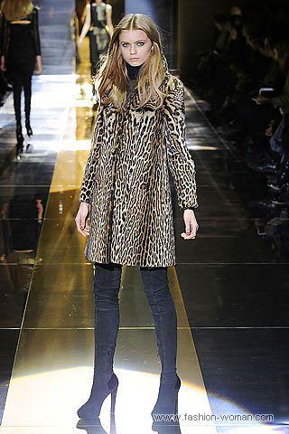 Пальто с леопардовым принтом от Gucci