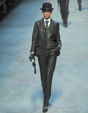Кожаный брючный костюм от Hermès