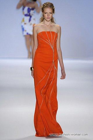 оранжевое вечернее платье весна-лето 2011