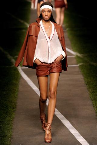 коричневые кожаные шорты Hermes