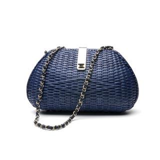 синяя соломенная сумка от манго