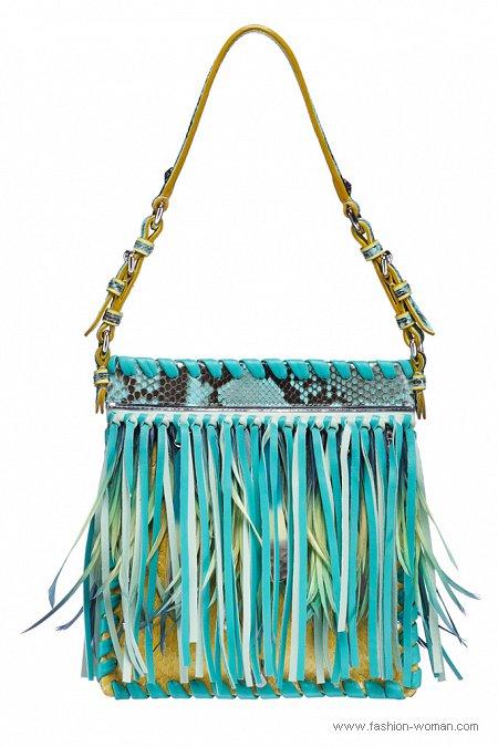 бирюзовая сумка с бахромой