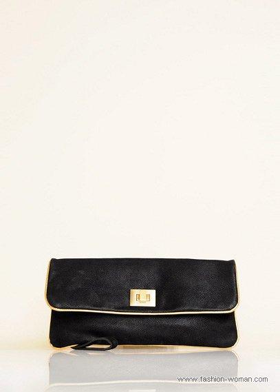 черный клатч с золотой окантовкой
