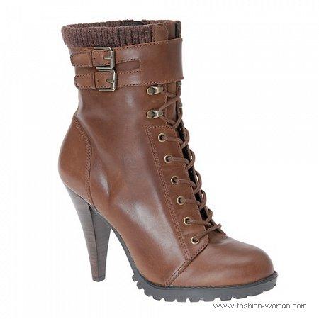 коричневые ботильоны на шнурках  ALDO