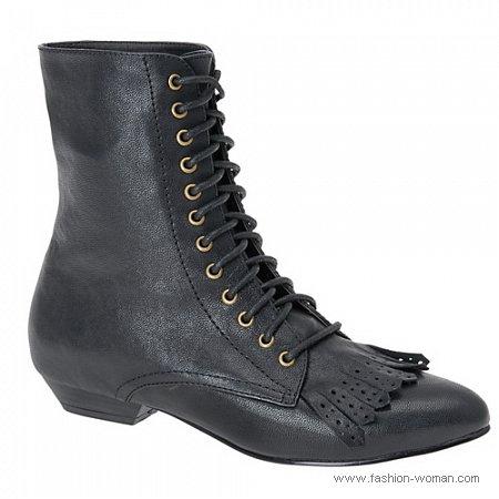 черные ботинки в винтажном стиле