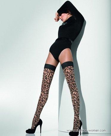 чулки с леопардовым принтом от Волфорд