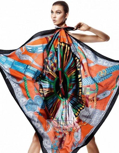 Карли Клосс в рекламной кампании платков Hermès фото №7