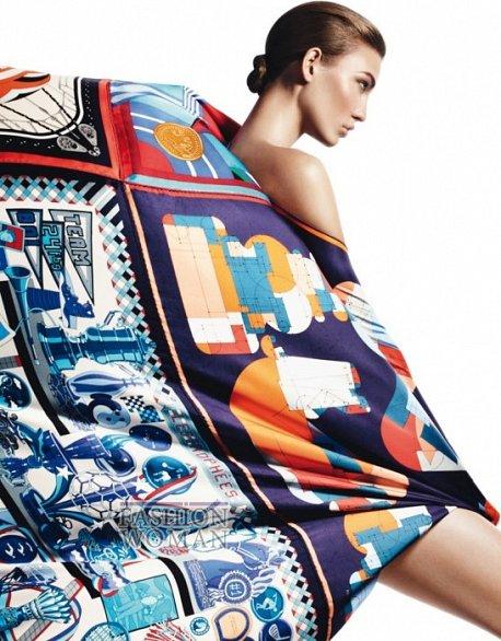 Карли Клосс в рекламной кампании платков Hermès фото №9