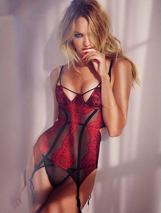 Кэндис Свейнпол в лукбуке Victoria's Secret Valentine's Day 2015 фото №13