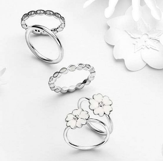 серебряные кольца Пандора