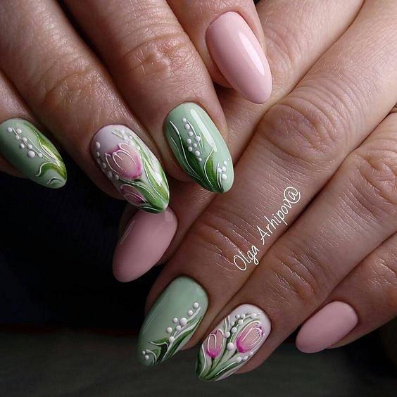 Maniküre mit Blumen: Ideen von Zeichnungen auf Nägeln Foto №43