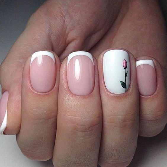 Маникюрс цветами: идеи рисунков на ногтях фото №76
