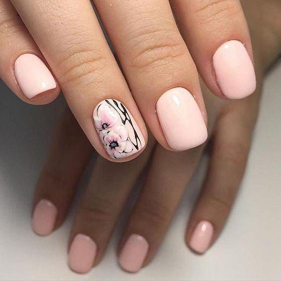 Маникюрс цветами: идеи рисунков на ногтях фото №79