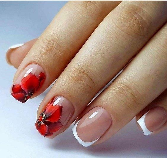 Маникюрс цветами: идеи рисунков на ногтях фото №83