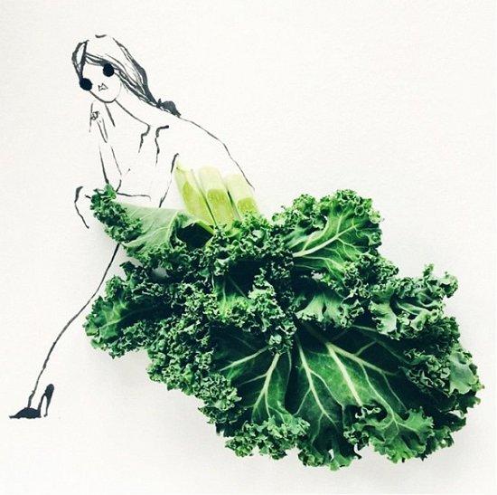 Мода и еда в иллюстрациях Гретхен Рёхрс