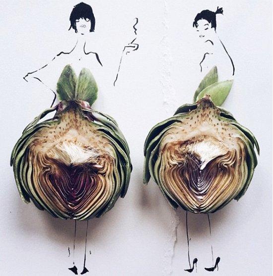 Мода и еда в иллюстрациях Гретхен Рёхрс фото №2