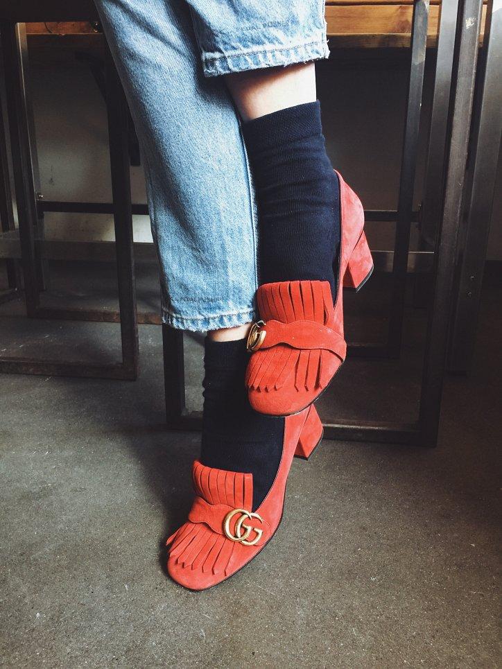 Модная обувь осени: лоферы на толстом каблуке фото №3