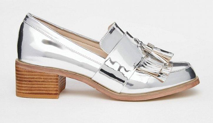 Модная обувь осени: лоферы на толстом каблуке фото №27