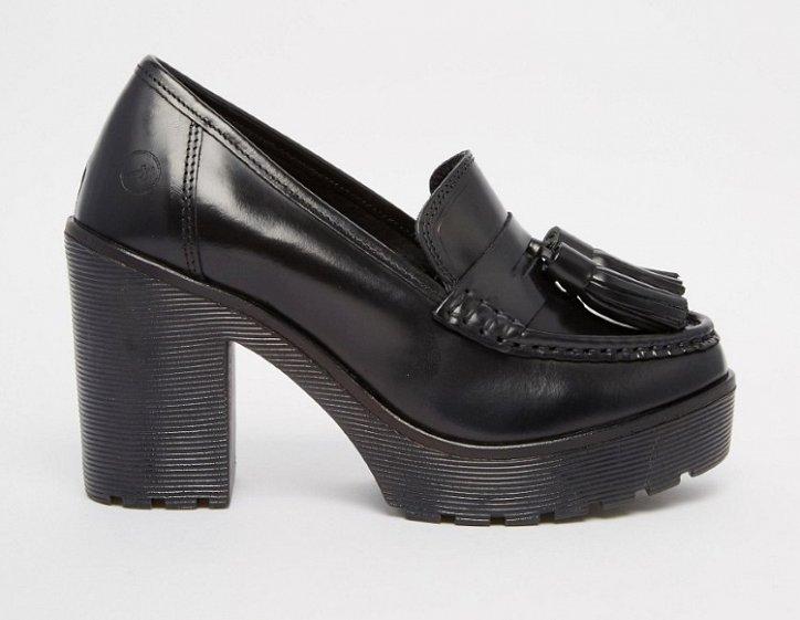 Модная обувь осени: лоферы на толстом каблуке фото №26