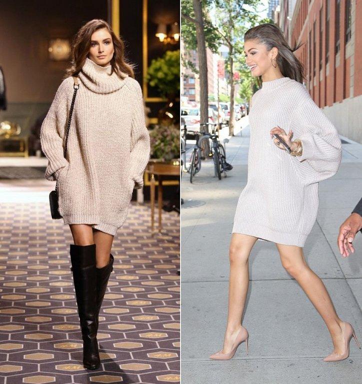 объемное свитер-платье