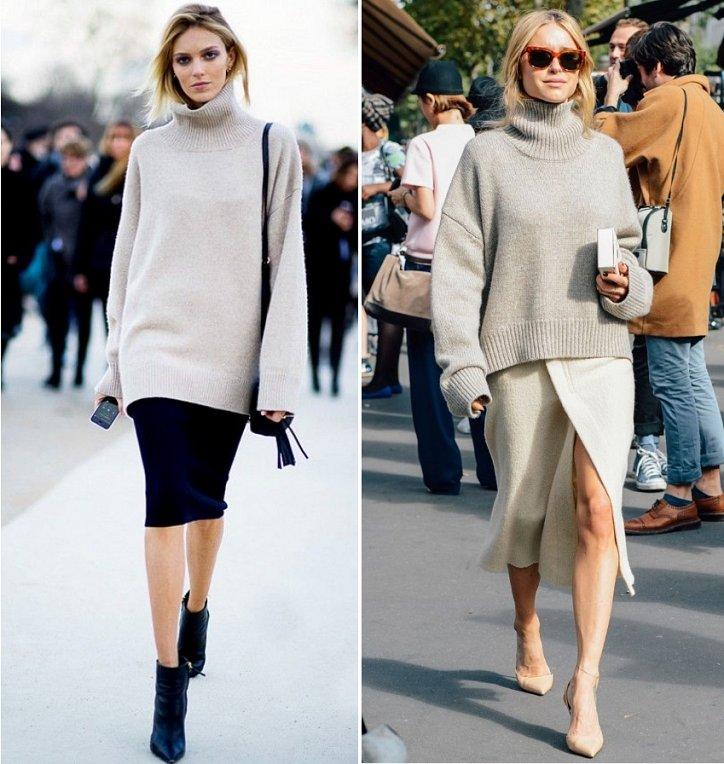 свитер-oversize с юбкой