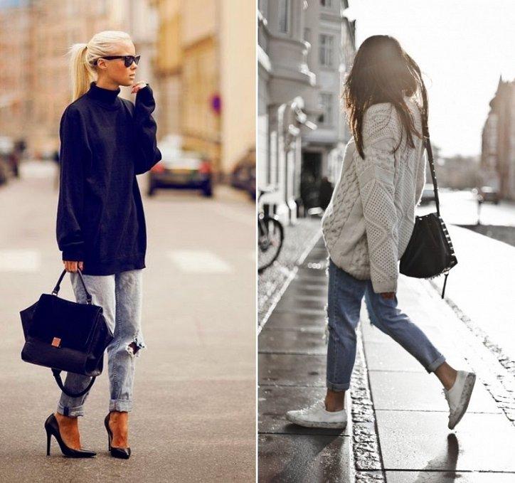 свитер-oversize с джинсами бойфренда