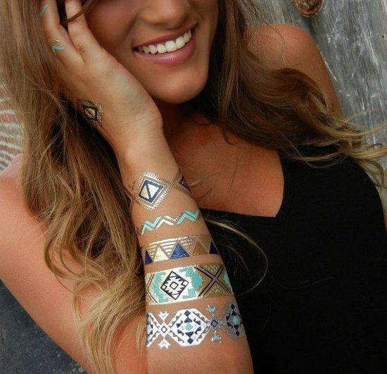Временные металлические татуировки браслеты
