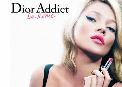 Кейт Мосс в рекламе губной помады Dior Addict